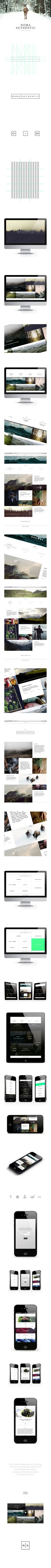 Noma Authentic | Website & App by Jonas Emmertsen, via Behance *** The concept for Noma Authentic is a side project from the world famous restaurant Noma. The concept is to create a culinary grand tour, for people who wants to learn more about commodity, hunting and fishing. The events will take place 4 times every season, in Scandinavia...