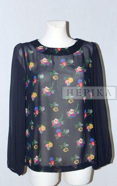 Granatowa bluzka z długim rękawem - sklep internetowy HEPIKA