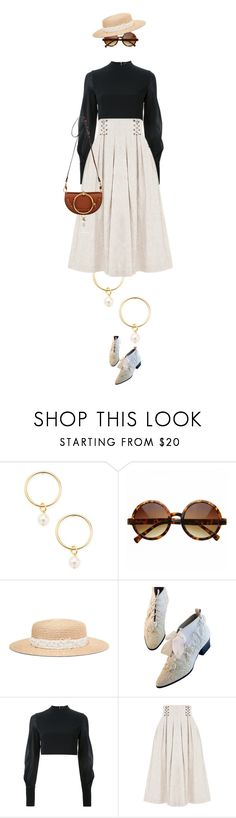 """""""eva1655"""" by evava-c ❤ liked on Polyvore featuring Renvy, Eugenia Kim, David Koma, FLOW the Label and Chloé"""