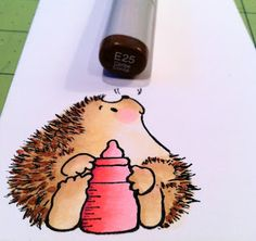 a tutorial on coloring Penny Black hedgehogs