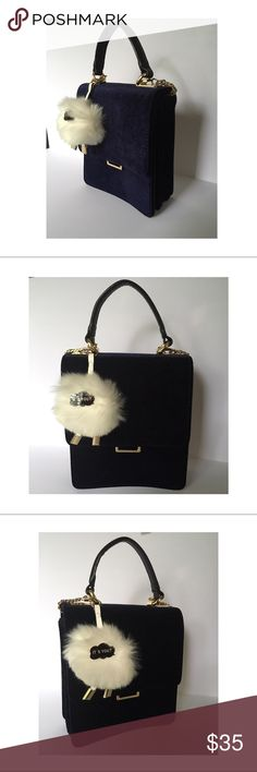 """ZARA Blue Velvet Crossbody Bag with Pompom charm It's a blue velvet cross-body bag with a gold toned chain, 3 separate open compartments, handle with 4 inch drop, 21 inch chain drop, and a pompom charm which says """"It's You?"""". Zara Bags Crossbody Bags"""