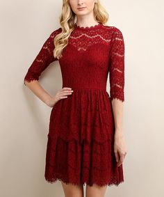 Look at this Soiéblu Burgundy Lace Tiered Fit & Flare Dress on #zulily today!