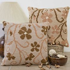 'Cascade' Cross Stitch Cushion Kit by Twilleys of Stamford. Cross Stitch Cushion, Cross Stitch Rose, Cross Stitch Embroidery, Palestinian Embroidery, Embroidered Cushions, Needlepoint Patterns, Cushion Covers, Blackwork, Crochet Projects