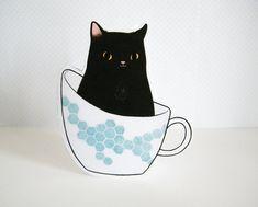 'Black Cat in a Teacup' by Darla Okada