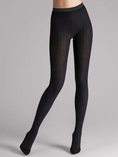 Soft wool. Elegant tights made from exclusive Merino wool for cooler days. Finest ribbed knit creates a bold structure and visually lengthens the leg.       Exclusive comfort thanks to the fine Merino material    Sewn-in elastic with Wolford logo    Reinforced toes, sole and heels for enhanced durability.    New wool gusset    A partner that is both stylish and comfortable.