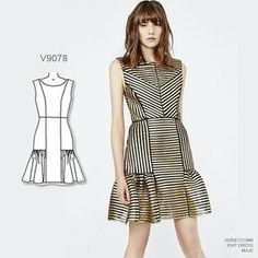 Holiday party dress option: Sew Vogue Patterns #V9078 out of striped metallic brocade. #sewthelook #VoguePatterns | Inspo dress by Maje and available at Maje.com