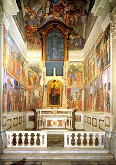 Interior view of Brancacci Chapel, frescoes by Masaccio, Masolino and Filippino Lippi