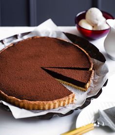 Australian Gourmet Traveller recipe for chocolate tart. Tart Recipes, Almond Recipes, Dessert Recipes, Curry Recipes, Sweet Pie, Sweet Tarts, Delicious Desserts, Yummy Food, Sweet Pastries