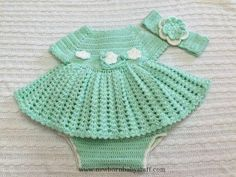 Crochet Baby Dress Crochet baby dress with diaper cover and matching headband