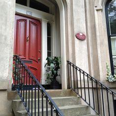 Red front door in Savannah's Historic District