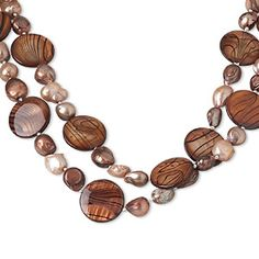 Necklace, mother-of-pearl shell and cultured freshwater pearl (bleached / coated), brown / sienna / black, 20mm flat round with lines, 34-inch continuous loop. Sold individually.
