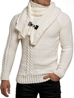 Tazzio Pullover Herren Strickpullover Winter Strick Strickjacke Longsleeve Clubwear Langarm Shirt Sweatshirt Hemd Pulli Kosmo Japan Style Fit Look (Ecru, S) Japan Fashion, Mens Fashion, Estilo Rock, Loop Scarf, Winter Sweaters, Men Sweater, Male Sweaters, Sweater Cardigan, Men Casual