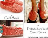 2in1-Pattern for Coral Lace Basic Slippers included Tailored CORD-Soles  - Instant Download