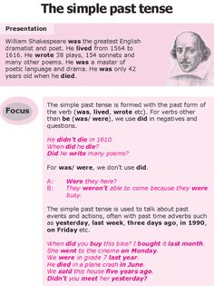Grade 8 Grammar Lesson 8 The simple past tense