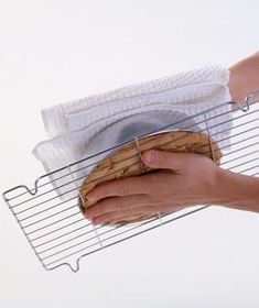 Cool cakes upside down. This will flatten out the tops, creating easy-to-stack disks for layer cakes.