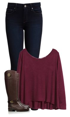"""""""I haven't posted in 9 days"""" by morgantaylor37 ❤ liked on Polyvore featuring Paige Denim, H&M, Tory Burch, women's clothing, women, female, woman, misses and juniors"""