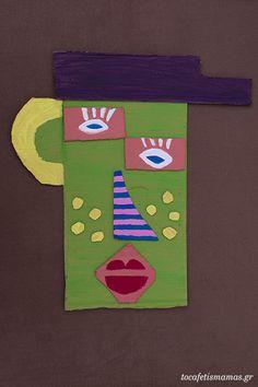 Πρόσωπα από χαρτόκουτα. - To Cafe tis mamas Symbols, Letters, Diy Crafts, Art, Art Background, Icons, Letter, Kunst, Diy Home Crafts