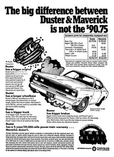 Plymouth Duster - February 1970 Old Advertisements, Car Advertising, My Childhood Memories, Family Memories, Plymouth Duster, Performance Wheels, Plymouth Cars, Auto Parts Store, Old School Cars