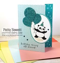 Handstamped birthday cards featuring the Stampin' UP! Party Panda Sale-a-Bration stamp set, Tutti Frutti note cards, Bubbles & Fizz paper and punched glitter balloons, by Patty Bennett
