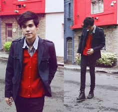 keeping cozy with jeans, blue gingham shirt, red cardigan and grey jacket.  Styling by Vini Uehara