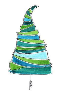 "Original Watercolor & Ink ""Tree"" - 4.25"" x 5.5"" -  Green - Lt. Blue - Teal. $15.00, via Etsy."