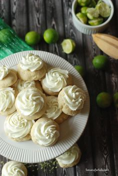 Mini frosted sugar cookies made with fresh key limes www.lemonsforlulu.com