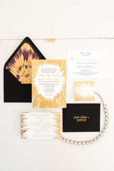 A crazy fun New Year's Eve wedding invitation suite! | One and Only Paper Custom Wedding Invitations