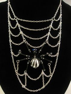 Spider Web Necklace Halloween Jewelry by MegaloDesigns on Etsy