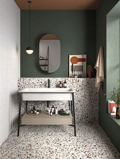 Photo 7 of 17 in the trend report: Tile Style – Terrazo Bathroom // Bathroom De … - Modern Style Tile, Bathroom Interior Design, Green Interior Design, Interior Ideas, Bathroom Inspiration, Bathroom Ideas, Bathroom Trends, Bathroom Designs, Restroom Ideas