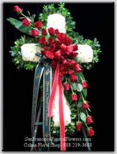 Cross White Carnations Red Roses Funeral Flowers, Sympathy Flowers, Funeral Flower Arrangements from San Francisco Funeral Flowers.com Search for chinese funeral, sympathy funeral flower arrangements from our SanFranciscoFuneralFlowers.com website. Our funeral and sympathy arrangements include crosses, casket covers, hearts, wreaths on wood easels, coronas fúnebres, arreglos fúnebres, cruces para velorio, coronas para difunto, arreglos fúnebres, Florerias, Floreria, arreglos florales…