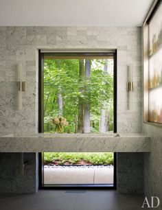 Modern Bathroom by Carrier and Co. Interiors and Specht Harpman Architects in New Canaan, Connecticut Modern Bathroom by Carrier and Co. Interiors and Specht Harpman Architects in New Canaan, Connecticut Bathroom Windows, Bathroom Interior, Modern Bathroom, Bath Window, Bathroom Taps, Downstairs Bathroom, Window Wall, Wall Of Windows, Bathroom Lighting