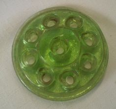 "Vintage 3 3/4"" Diameter Green Glass Flower Frog by FairbanksAntiques on Etsy"