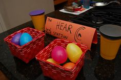 The Hear Station. Let kids experience how ear drums work (cups, balloons). Have them guess what is in easter eggs by matching the ones that sound alike (rice, beads, blocks, legos, bells, balls, coins) #science #preschool #brain #senses #homeschool #sciencefriday