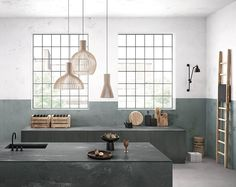 urban industrial kitchen with sage green walls and concrete effect quartz worktops from caeserstone Interior Modern, Interior Design, Grey Kitchens, Cool Kitchens, Home Design, 2017 Design, Design Ideas, Smallbone Kitchens, Martin Moore Kitchens