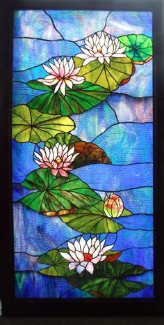 Gorgeous Water Lilies Stained Glass Panel by David Schlicker Stained Glass ♥♥ DSC00528.JPG