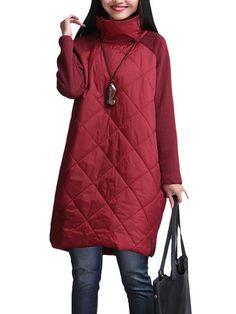 Vintage Women Long Sleeve Turtleneck Patchwork Cotton A-Line Dress