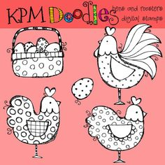Digital stamps hens and roosters on etsy $3.45