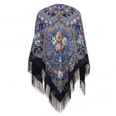 "Russian 1437-14 Pavlovo-Posad Woolen shawls (49х49"") (125x125 cm) 100% wool"