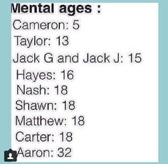 "This is so accurate. It's funny how cam is the ""youngest"" mental age when he's the oldest"