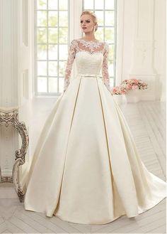 comprar Vestidos de boda del vestido de bola Escote elegante tul y raso con apliques de encaje Bateau de descuento en Dressilyme.com