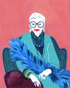 "I'm sooo happy to know my illustration of Iris Apfel has been selected as ""merit "" at the Woman Illustration, Portrait Illustration, Iris Apfel Documentary, 3 Arts, Special Characters, Old Women, Illustrators, Art Decor, Drawings"