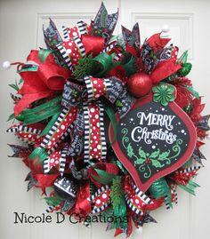 Whimsical Merry Christmas Wreath Holiday by NicoleDCreations