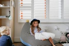 "Image of ""Oh My Stripe"" PomPom Beanbag Cover - Kids Size"