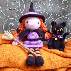 Ravelry: Morgana the Witch and Soots the Cat pattern by Janine Holmes