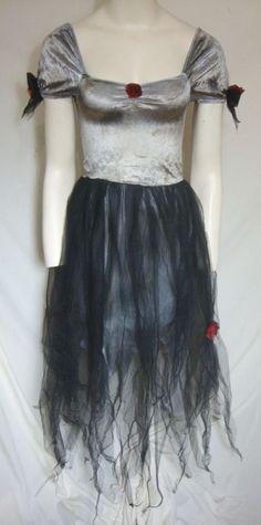 Goth Vampire Princesss Costume Maleficent Horror Black Dress Girl Medium 8-10…
