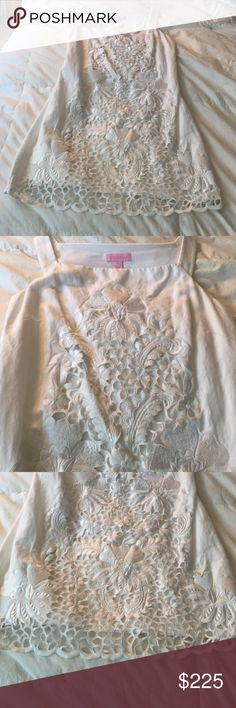 🚨SALE🚨LILLY PULITZER LINEN EMBROIDERED DRESS 0 Gorgeous shiny white silk embroidery down front of this side zip white linen cotton lined Lilly Pulitzer White shift dress. Size 0. Perfect amazing condition - worn once to a summer party and dry cleaned and hung in storage bag. Lilly Pulitzer Dresses Midi