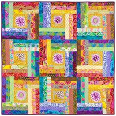 """Bright Ideas: Quilt 1 of 2 - The strips are 2-1/2"""" wide and work well with any of the pre-cut sets of that size. Check out the other design too~ both are unique!"""