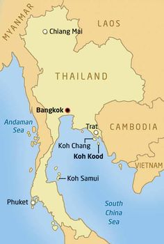 Map showing Koh Chang and Koh Kood Thailand - best beaches islands holiday vacation