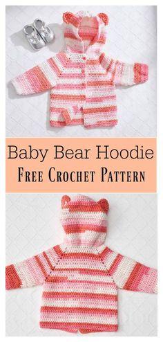 Baby Bear Hoodie Sweater Free Crochet Pattern #freecrochetpatterns #sweater