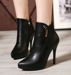 Shiney Womens New Genuine Leather Plus Velvet Booties High Heel Pointed Side Zipper Autumn and Winter